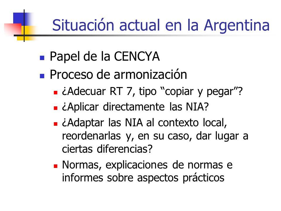 Situación actual en la Argentina Papel de la CENCYA Proceso de armonización ¿Adecuar RT 7, tipo copiar y pegar.