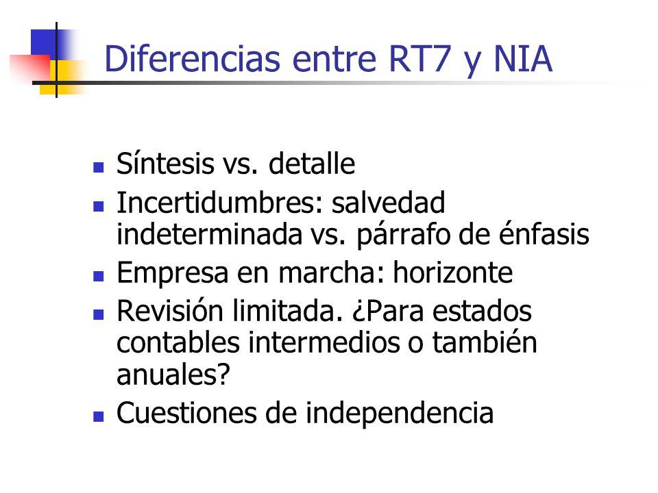 Diferencias entre RT7 y NIA Síntesis vs.detalle Incertidumbres: salvedad indeterminada vs.