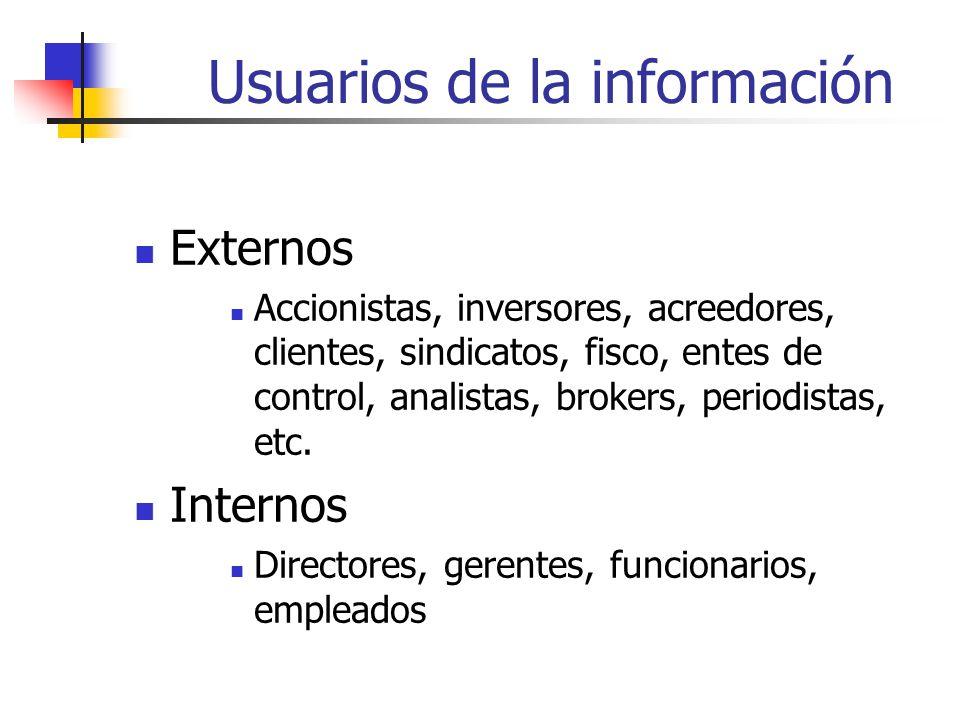 Usuarios de la información Externos Accionistas, inversores, acreedores, clientes, sindicatos, fisco, entes de control, analistas, brokers, periodistas, etc.