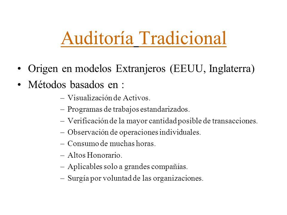 Auditoría Tradicional Origen en modelos Extranjeros (EEUU, Inglaterra) Métodos basados en : –Visualización de Activos. –Programas de trabajos estandar