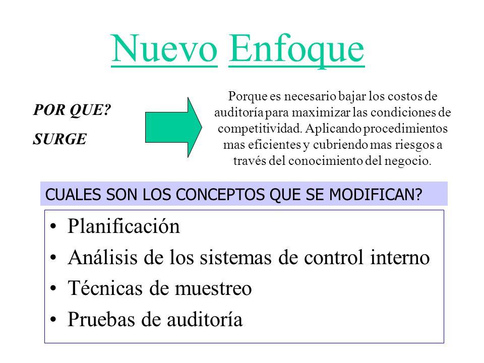 Nuevo Enfoque Planificación Análisis de los sistemas de control interno Técnicas de muestreo Pruebas de auditoría POR QUE? SURGE Porque es necesario b