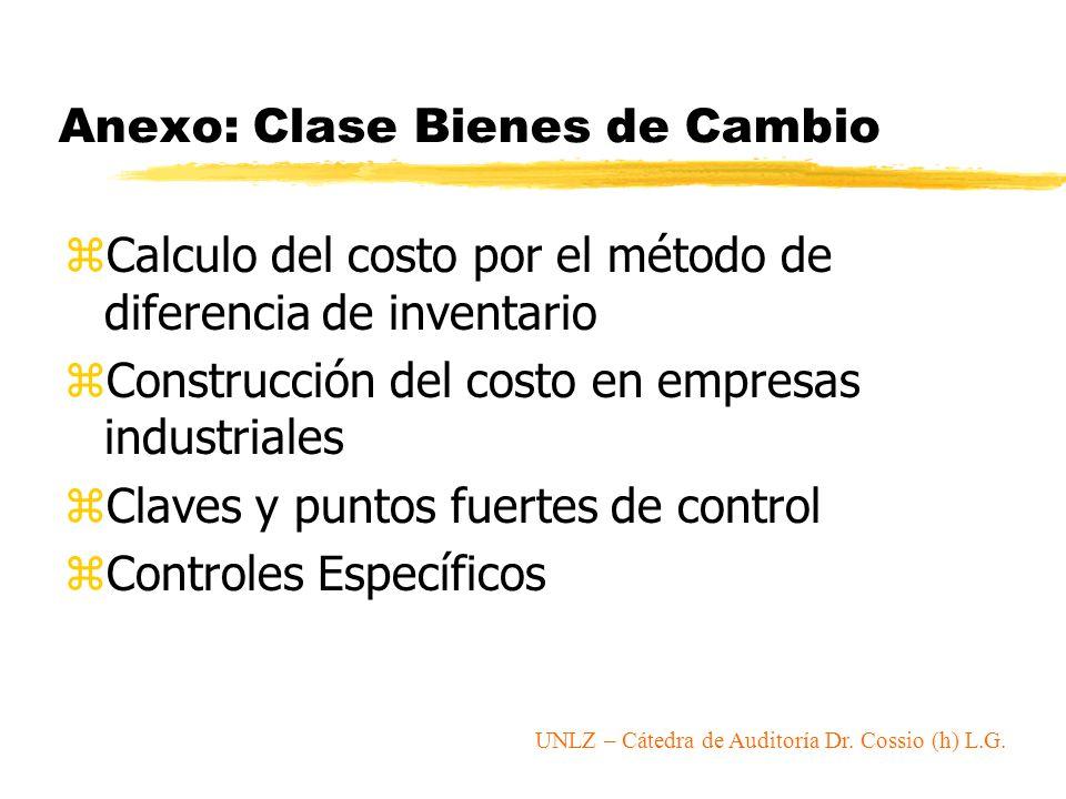 Anexo: Clase Bienes de Cambio zCalculo del costo por el método de diferencia de inventario zConstrucción del costo en empresas industriales zClaves y