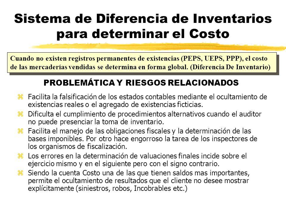 Sistema de Diferencia de Inventarios para determinar el Costo zFacilita la falsificación de los estados contables mediante el ocultamiento de existenc