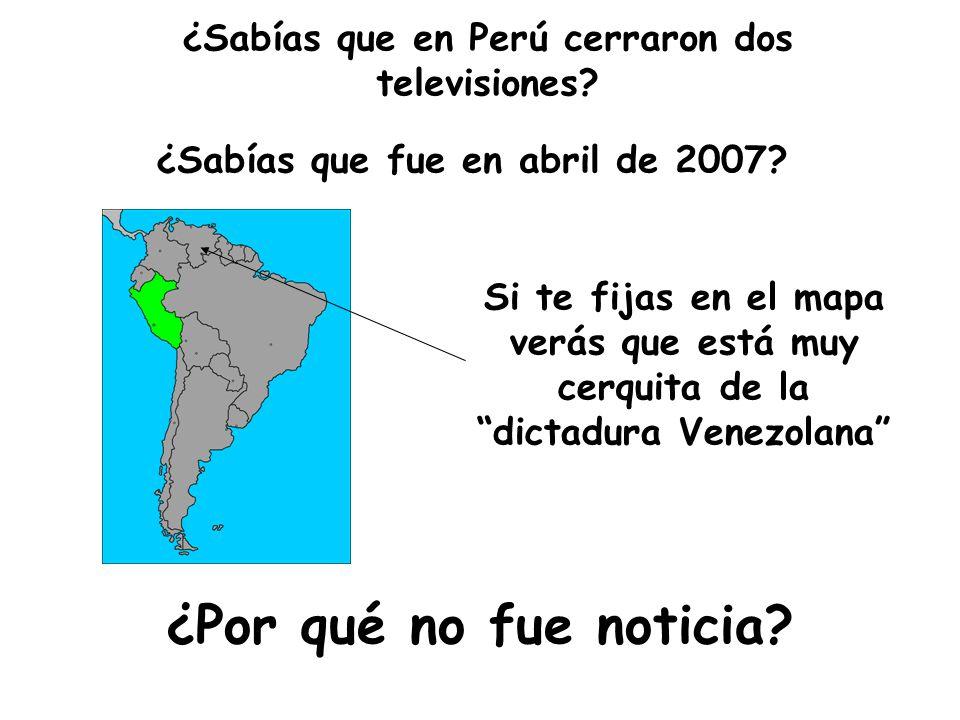¿Sabías que en Perú cerraron dos televisiones.¿Por qué no fue noticia.