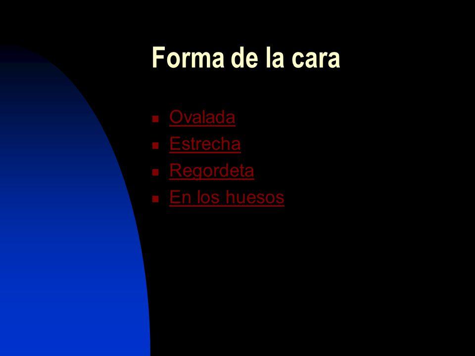 Forma de la cara Ovalada Estrecha Regordeta En los huesos