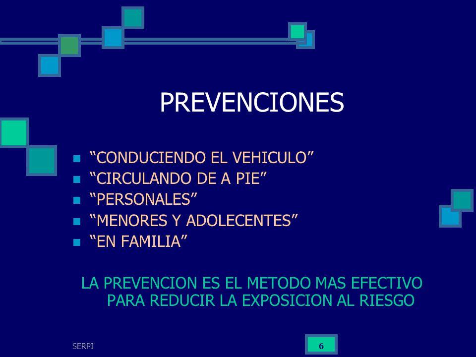 SERPI 6 PREVENCIONES CONDUCIENDO EL VEHICULO CIRCULANDO DE A PIE PERSONALES MENORES Y ADOLECENTES EN FAMILIA LA PREVENCION ES EL METODO MAS EFECTIVO P