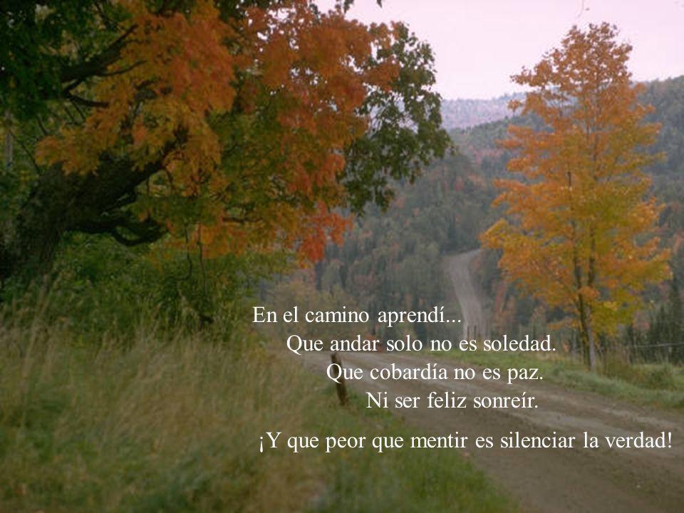En el camino aprendí... Que andar solo no es soledad. Que cobardía no es paz. Ni ser feliz sonreír. ¡Y que peor que mentir es silenciar la verdad!