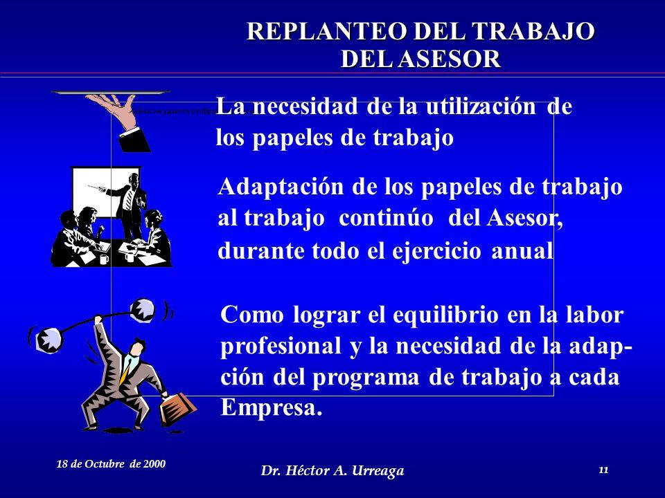 Dr. Héctor A. Urreaga 11 18 de Octubre de 2000 11 La necesidad de la utilización de los papeles de trabajo Adaptación de los papeles de trabajo al tra