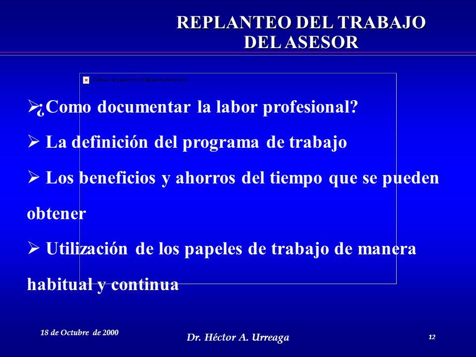 Dr. Héctor A. Urreaga 12 18 de Octubre de 2000 12 REPLANTEO DEL TRABAJO DEL ASESOR ¿Como documentar la labor profesional? La definición del programa d