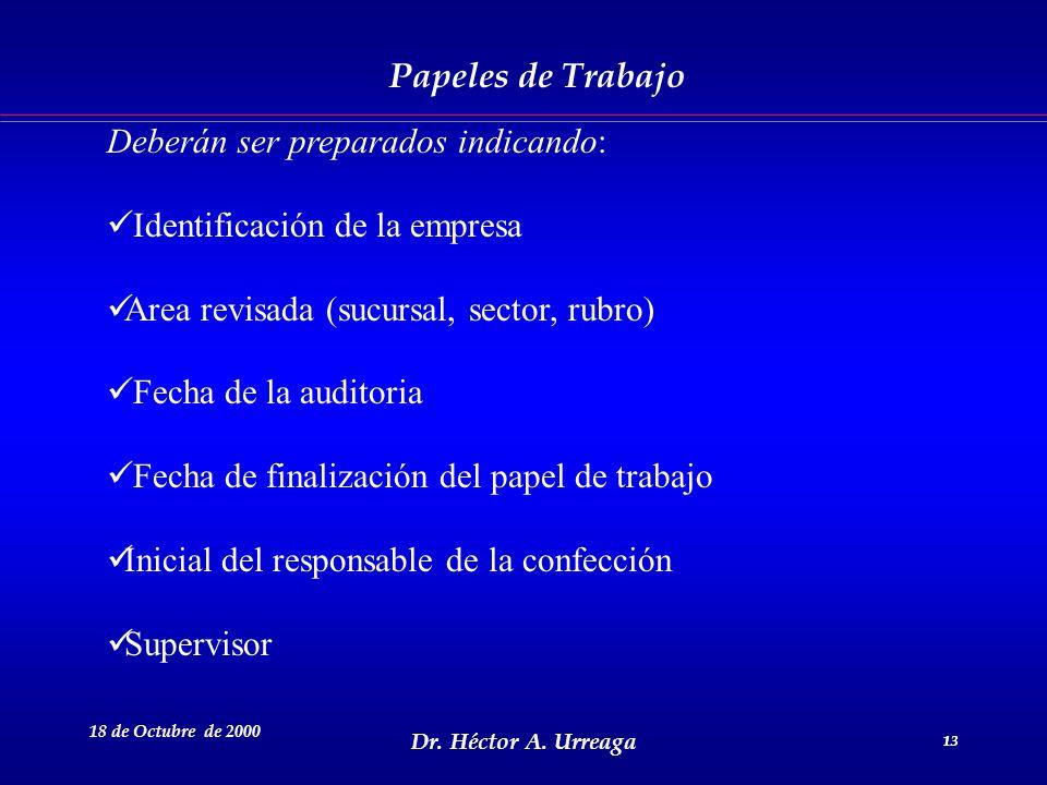 Dr. Héctor A. Urreaga 13 18 de Octubre de 2000 13 Papeles de Trabajo Deberán ser preparados indicando: Identificación de la empresa Area revisada (suc