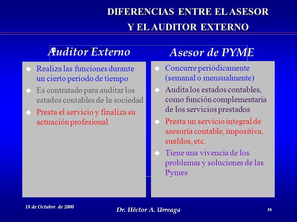 Dr. Héctor A. Urreaga 16 18 de Octubre de 2000 16 DIFERENCIAS ENTRE EL ASESOR Y EL AUDITOR EXTERNO u Realiza las funciones durante un cierto período d