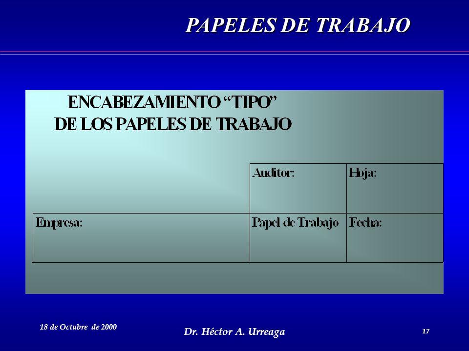 Dr. Héctor A. Urreaga 17 18 de Octubre de 2000 17 PAPELES DE TRABAJO