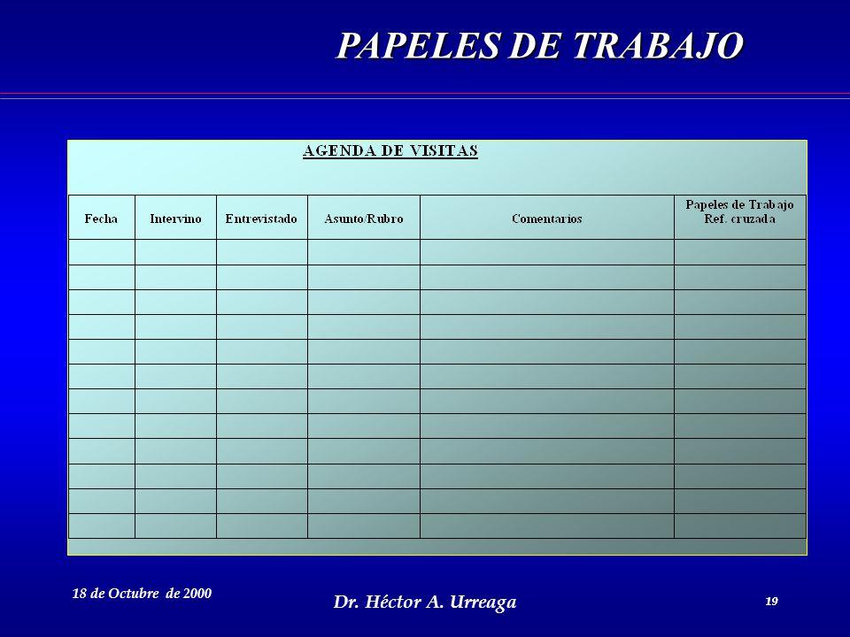 Dr. Héctor A. Urreaga 19 18 de Octubre de 2000 19 PAPELES DE TRABAJO