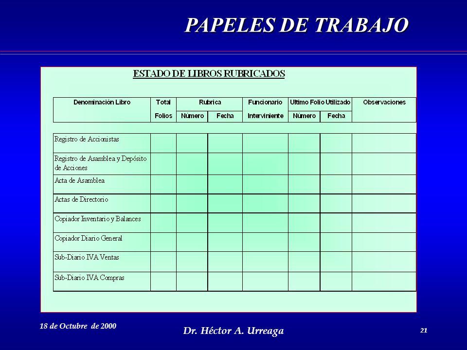 Dr. Héctor A. Urreaga 21 18 de Octubre de 2000 21 PAPELES DE TRABAJO