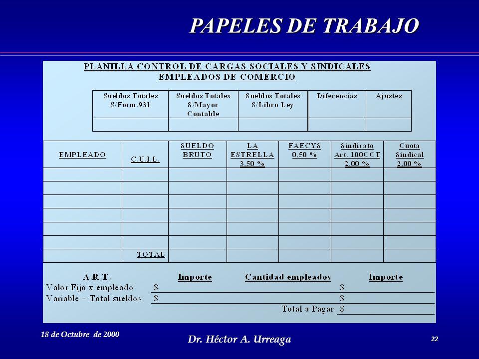 Dr. Héctor A. Urreaga 22 18 de Octubre de 2000 22 PAPELES DE TRABAJO
