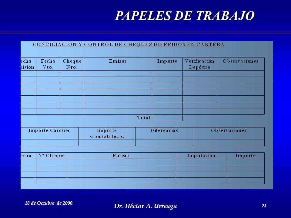 Dr. Héctor A. Urreaga 23 18 de Octubre de 2000 23 PAPELES DE TRABAJO