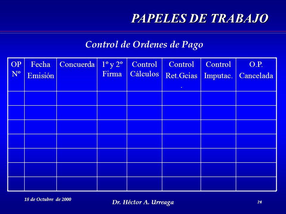 Dr. Héctor A. Urreaga 24 18 de Octubre de 2000 24 OP Nº Fecha Emisión Concuerda1º y 2º Firma Control Cálculos Control Ret.Gcias. Control Imputac. O.P.