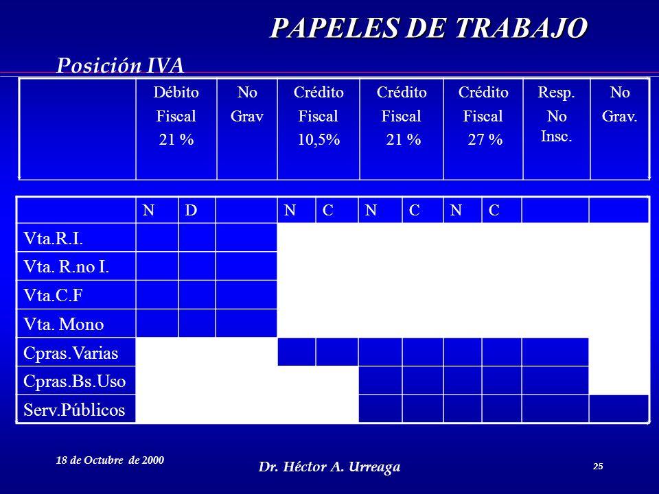 Dr. Héctor A. Urreaga 25 18 de Octubre de 2000 25 NDNCNCNC Vta.R.I. Vta. R.no I. Vta.C.F Vta. Mono Cpras.Varias Cpras.Bs.Uso Serv.Públicos Débito Fisc