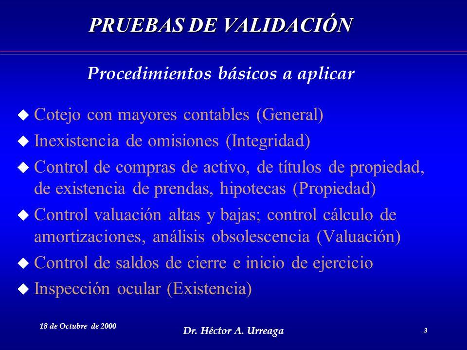 Dr. Héctor A. Urreaga 3 18 de Octubre de 2000 3 PRUEBAS DE VALIDACIÓN u Cotejo con mayores contables (General) u Inexistencia de omisiones (Integridad