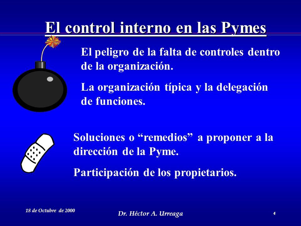 Dr. Héctor A. Urreaga 4 18 de Octubre de 2000 4 El control interno en las Pymes El peligro de la falta de controles dentro de la organización. La orga