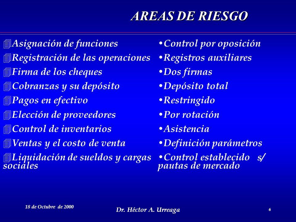 Dr. Héctor A. Urreaga 6 18 de Octubre de 2000 6 AREAS DE RIESGO AREAS DE RIESGO 4 Asignación de funciones 4 Registración de las operaciones 4 Firma de