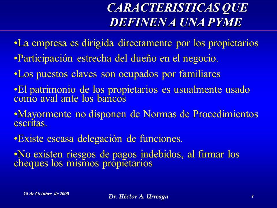Dr. Héctor A. Urreaga 9 18 de Octubre de 2000 9 CARACTERISTICAS QUE DEFINEN A UNA PYME CARACTERISTICAS QUE DEFINEN A UNA PYME La empresa es dirigida d