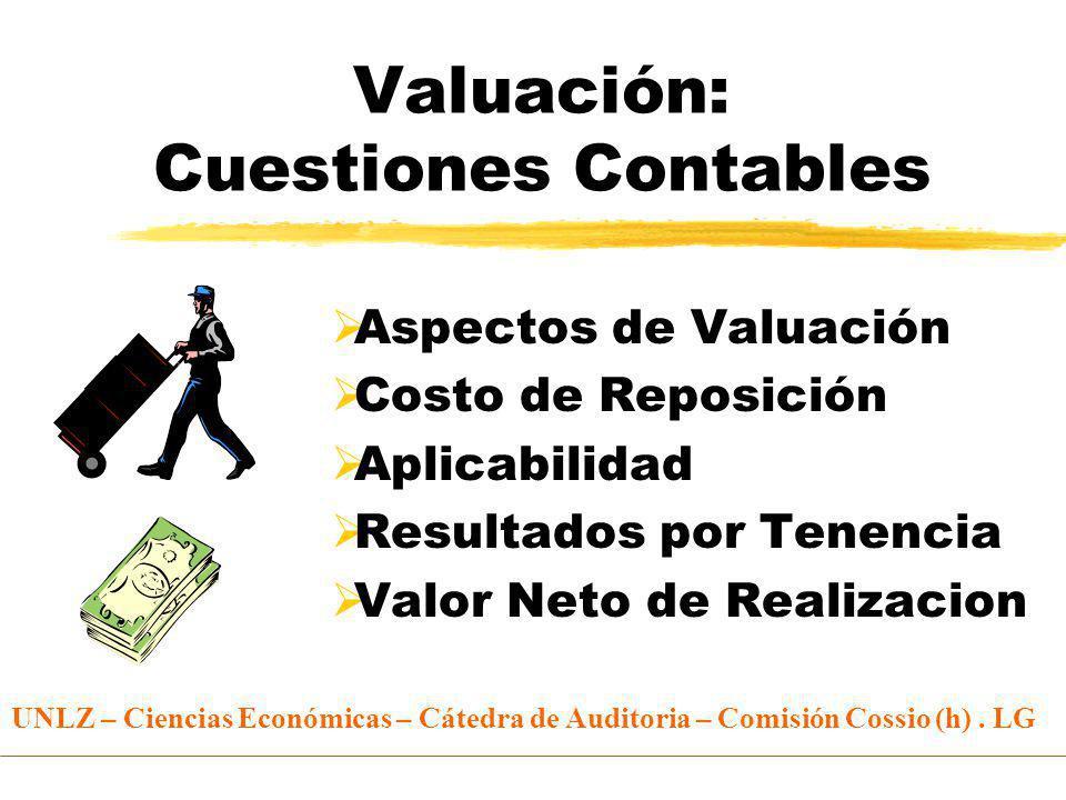 Valuación: Cuestiones Contables Aspectos de Valuación Costo de Reposición Aplicabilidad Resultados por Tenencia Valor Neto de Realizacion UNLZ – Ciencias Económicas – Cátedra de Auditoria – Comisión Cossio (h).