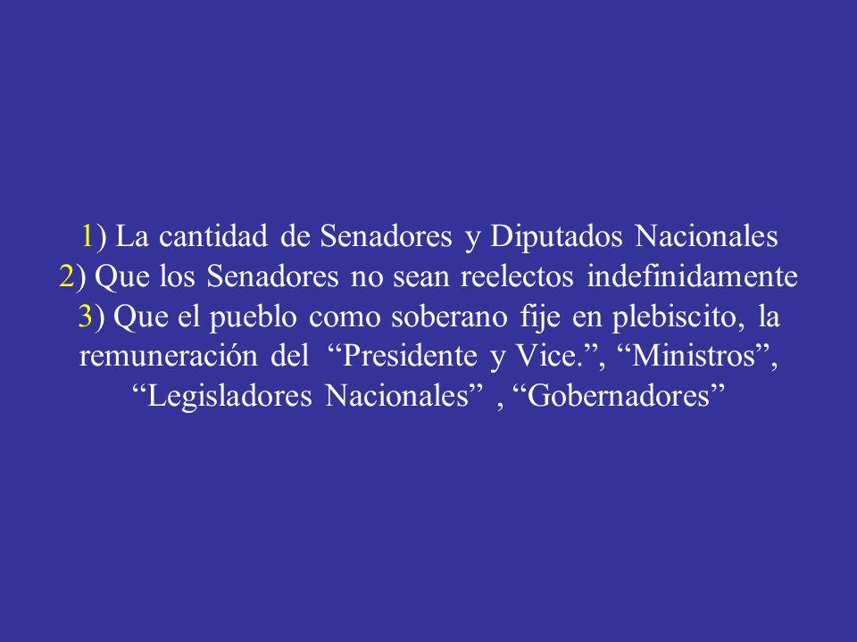 1) La cantidad de Senadores y Diputados Nacionales 2) Que los Senadores no sean reelectos indefinidamente 3) Que el pueblo como soberano fije en plebiscito, la remuneración del Presidente y Vice., Ministros, Legisladores Nacionales, Gobernadores