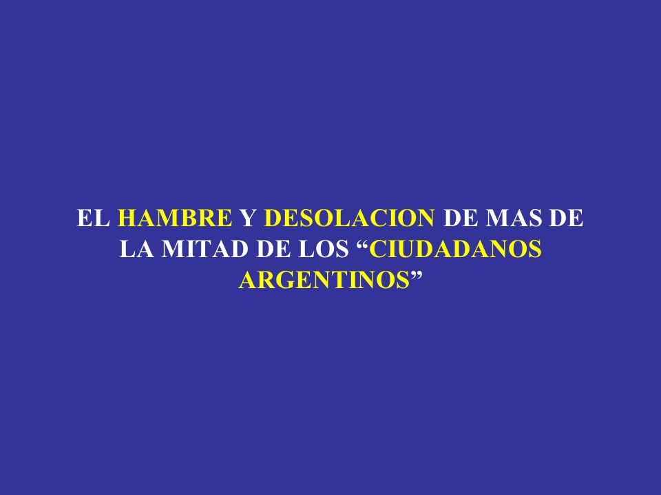 EL HAMBRE Y DESOLACION DE MAS DE LA MITAD DE LOS CIUDADANOS ARGENTINOS