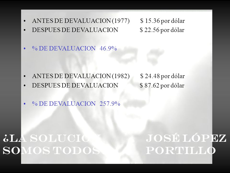 ANTES DE DEVALUACION (1976) $ 12.50 por dólar DESPUÉS DE LA DEVALUACIÓN (2000) $10,400* por dólar % de devaluación acumulada en los últimos 24 años 83,200% *Sin omitir los 3 ceros que se eliminaron en 1991