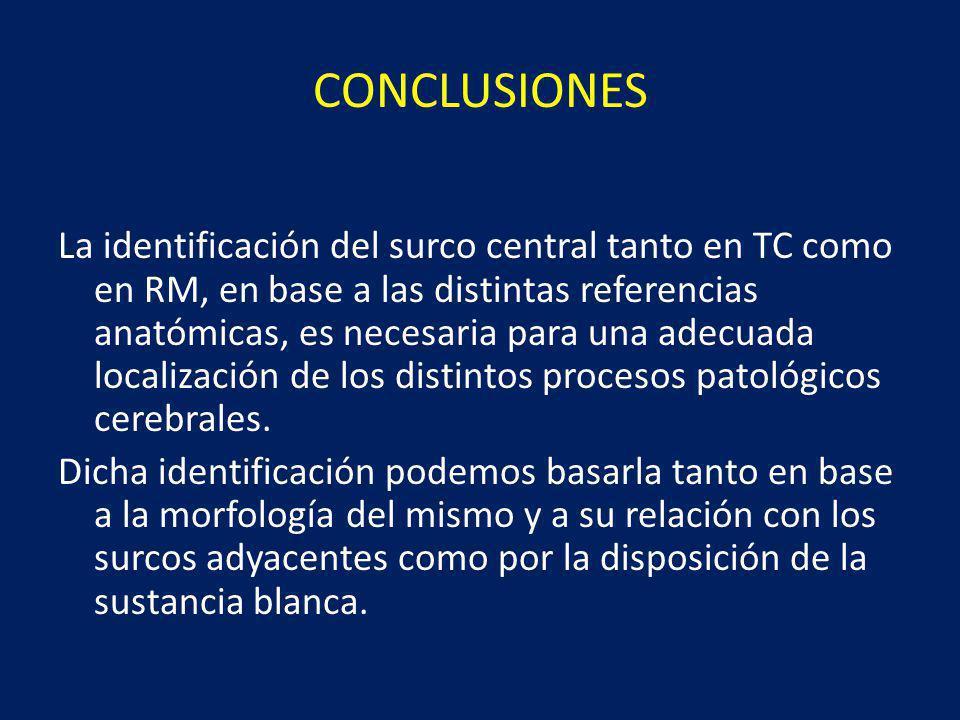 CONCLUSIONES La identificación del surco central tanto en TC como en RM, en base a las distintas referencias anatómicas, es necesaria para una adecuada localización de los distintos procesos patológicos cerebrales.