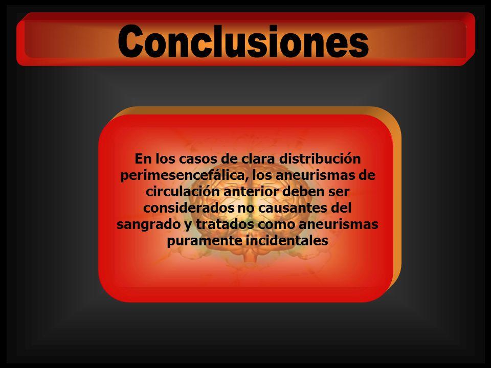 En los casos de clara distribución perimesencefálica, los aneurismas de circulación anterior deben ser considerados no causantes del sangrado y tratad