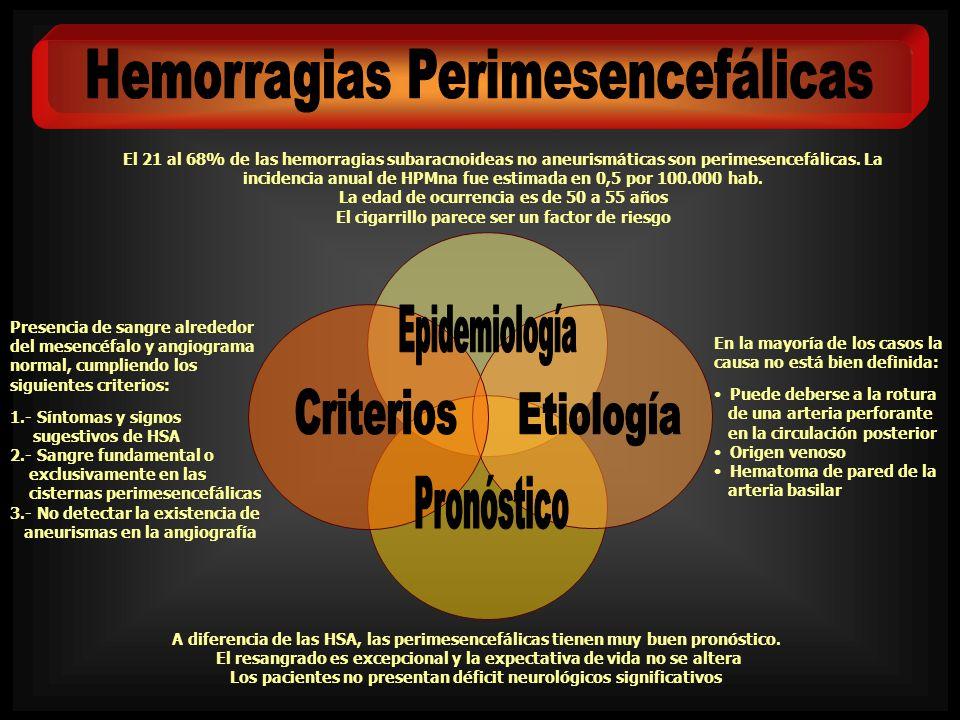 El 21 al 68% de las hemorragias subaracnoideas no aneurismáticas son perimesencefálicas. La incidencia anual de HPMna fue estimada en 0,5 por 100.000