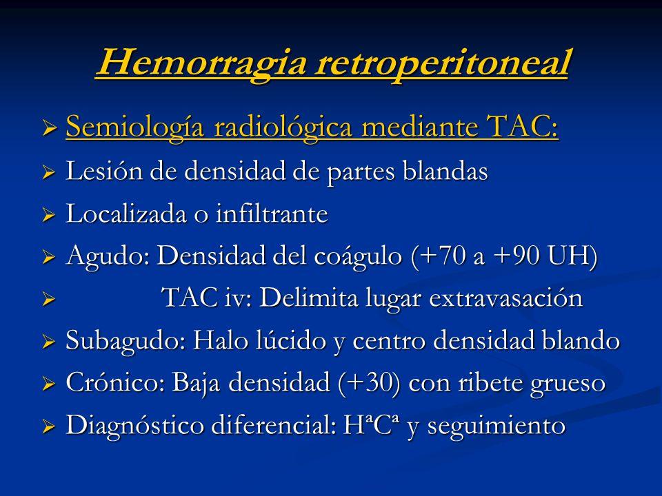 Hemorragia retroperitoneal Semiología radiológica mediante TAC: Semiología radiológica mediante TAC: Lesión de densidad de partes blandas Lesión de de