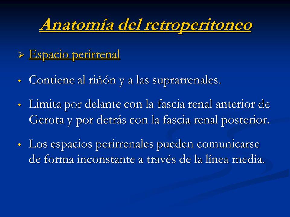 Anatomía del retroperitoneo Espacio pararrenal anterior Espacio pararrenal anterior Contiene colon ascendente, descendente, porciones del duodeno y páncreas.