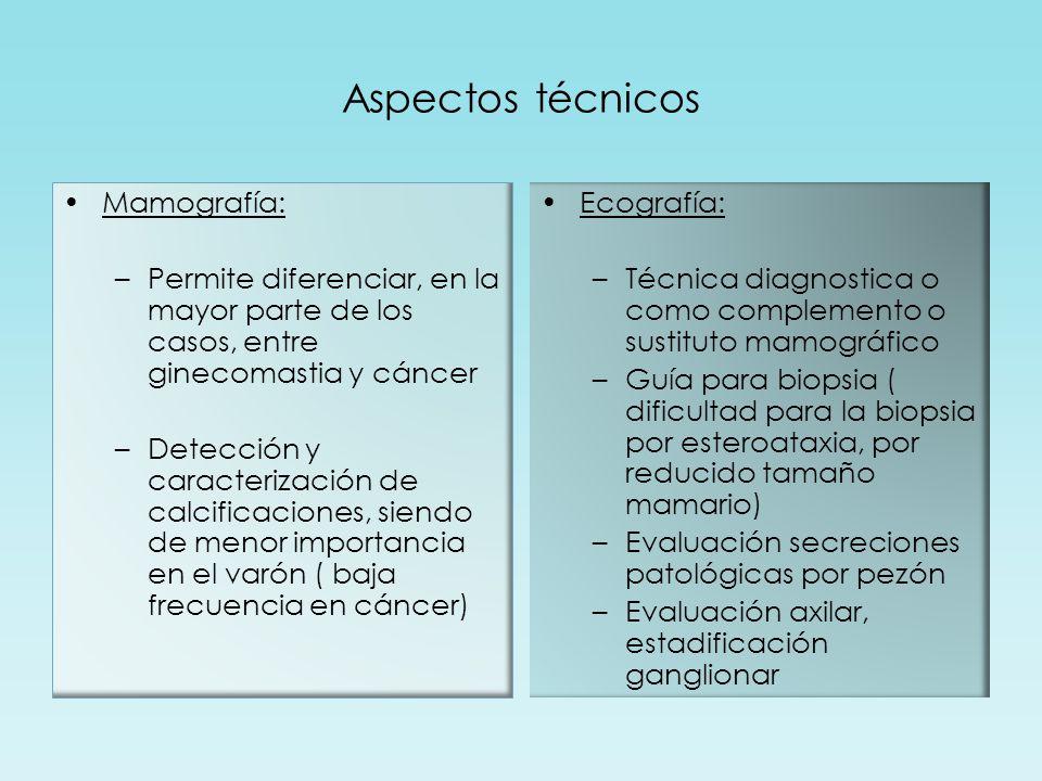 Aspectos técnicos Mamografía: –Permite diferenciar, en la mayor parte de los casos, entre ginecomastia y cáncer –Detección y caracterización de calcificaciones, siendo de menor importancia en el varón ( baja frecuencia en cáncer) Ecografía: –Técnica diagnostica o como complemento o sustituto mamográfico –Guía para biopsia ( dificultad para la biopsia por esteroataxia, por reducido tamaño mamario) –Evaluación secreciones patológicas por pezón –Evaluación axilar, estadificación ganglionar