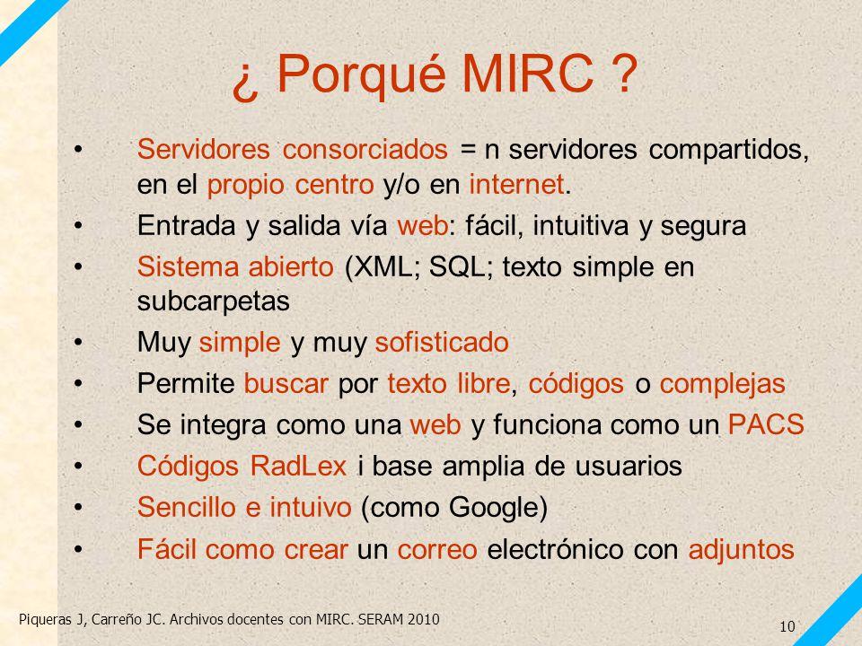 Piqueras J, Carreño JC. Archivos docentes con MIRC. SERAM 2010 10 ¿ Porqué MIRC ? Servidores consorciados = n servidores compartidos, en el propio cen