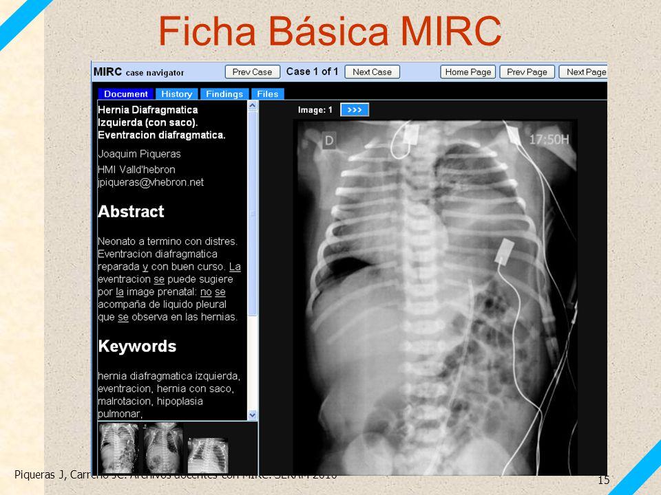 Piqueras J, Carreño JC. Archivos docentes con MIRC. SERAM 2010 15 Ficha Básica MIRC