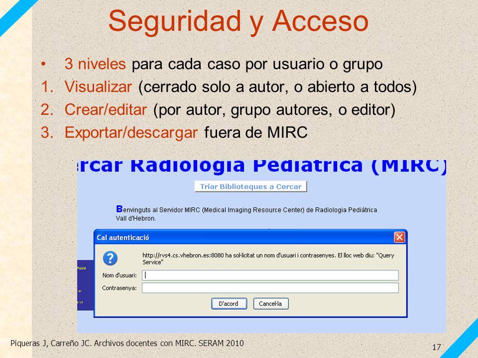 Piqueras J, Carreño JC. Archivos docentes con MIRC. SERAM 2010 17 Seguridad y Acceso 3 niveles para cada caso por usuario o grupo 1.Visualizar (cerrad