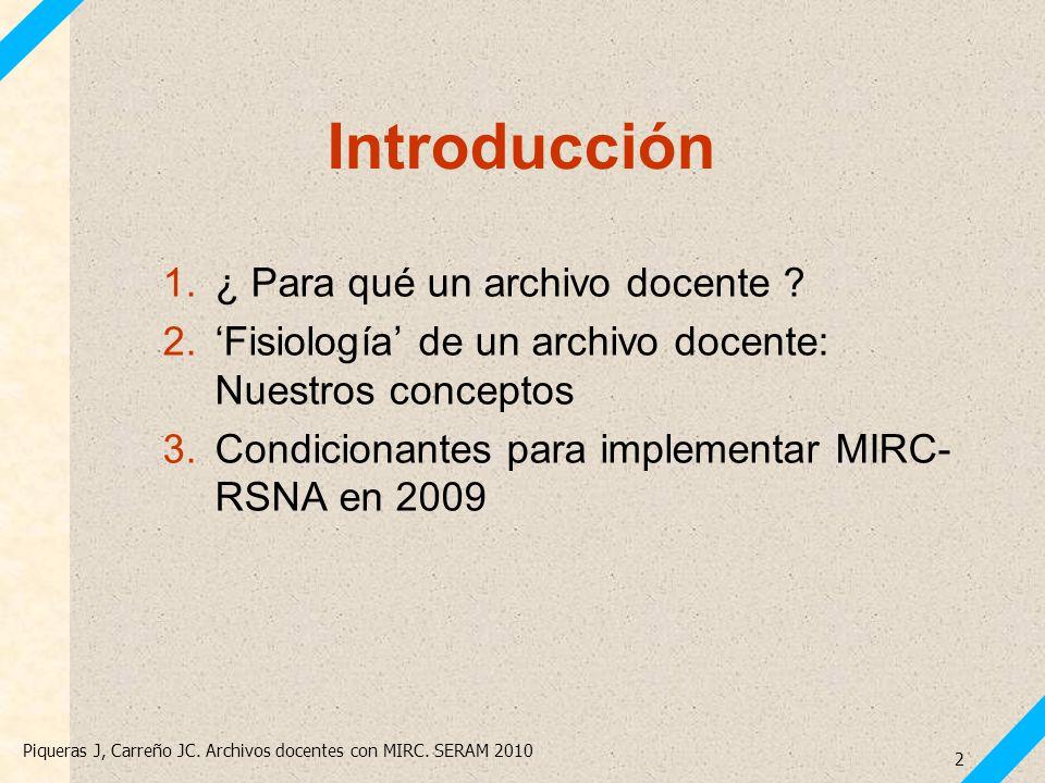 Piqueras J, Carreño JC. Archivos docentes con MIRC. SERAM 2010 2 1.¿ Para qué un archivo docente ? 2.Fisiología de un archivo docente: Nuestros concep