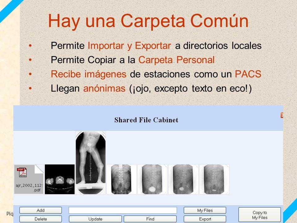 Piqueras J, Carreño JC. Archivos docentes con MIRC. SERAM 2010 21 Hay una Carpeta Común Permite Importar y Exportar a directorios locales Permite Copi