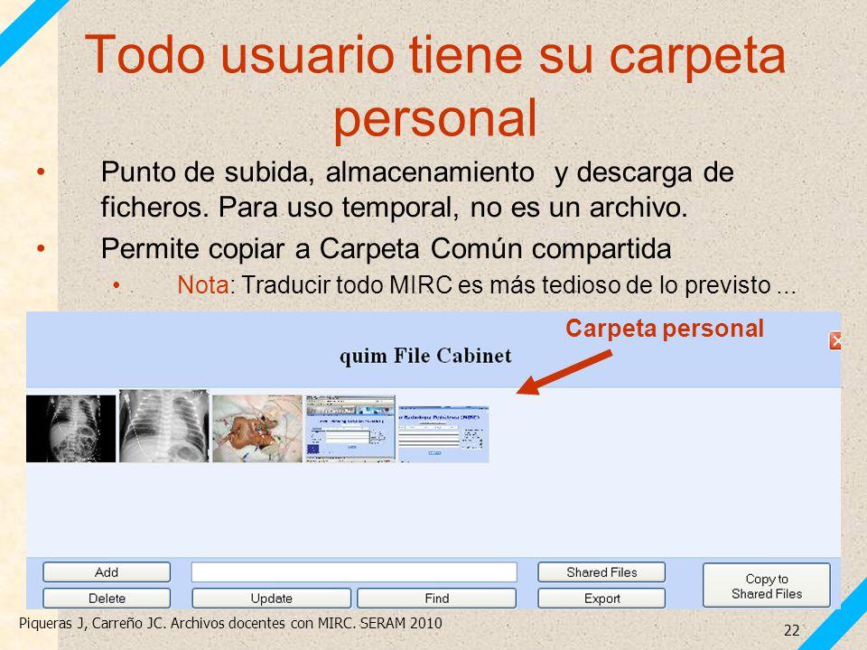 Piqueras J, Carreño JC. Archivos docentes con MIRC. SERAM 2010 22 Todo usuario tiene su carpeta personal Punto de subida, almacenamiento y descarga de