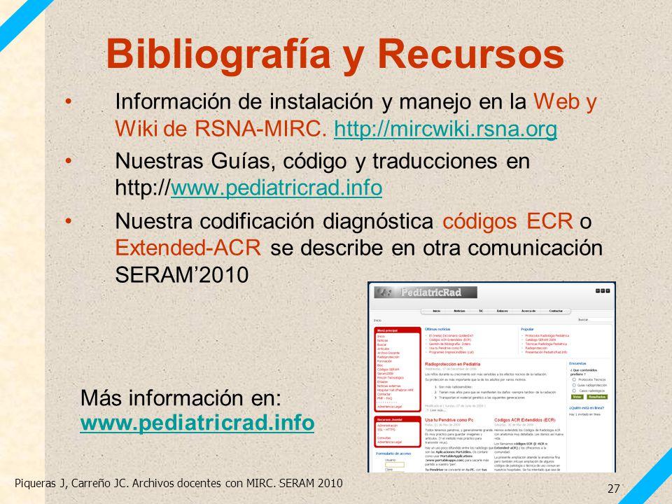 Piqueras J, Carreño JC. Archivos docentes con MIRC. SERAM 2010 27 Bibliografía y Recursos Más información en: www.pediatricrad.info www.pediatricrad.i