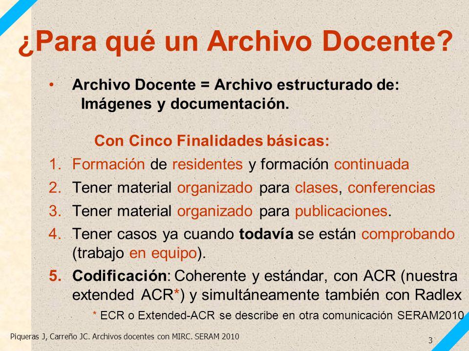 Piqueras J, Carreño JC. Archivos docentes con MIRC. SERAM 2010 3 ¿Para qué un Archivo Docente? Archivo Docente = Archivo estructurado de: Imágenes y d