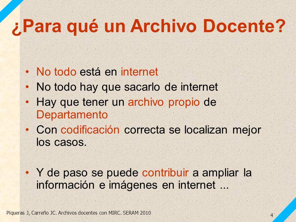 Piqueras J, Carreño JC. Archivos docentes con MIRC. SERAM 2010 4 No todo está en internet No todo hay que sacarlo de internet Hay que tener un archivo