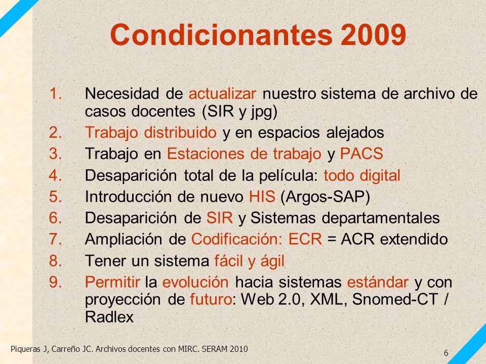 Piqueras J, Carreño JC. Archivos docentes con MIRC. SERAM 2010 6 Condicionantes 2009 1.Necesidad de actualizar nuestro sistema de archivo de casos doc