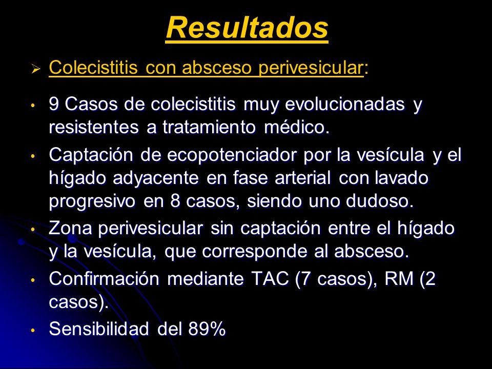 Resultados Colecistitis con absceso perivesicular: 9 Casos de colecistitis muy evolucionadas y resistentes a tratamiento médico.