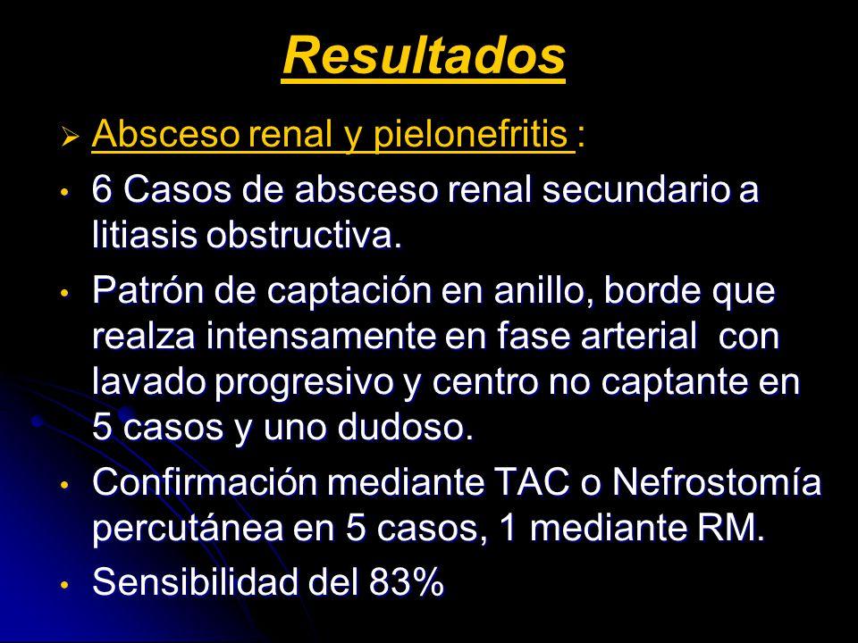 Resultados Absceso renal y pielonefritis : 6 Casos de absceso renal secundario a litiasis obstructiva. 6 Casos de absceso renal secundario a litiasis
