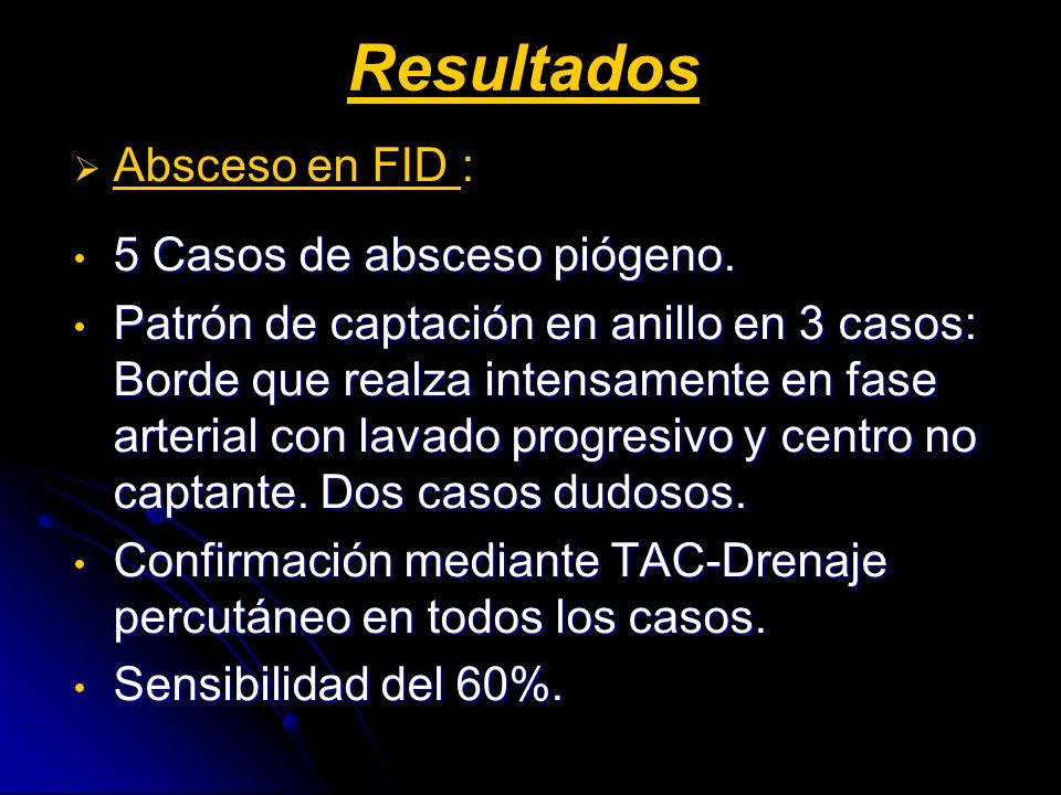 Resultados Absceso en FID : 5 Casos de absceso piógeno. 5 Casos de absceso piógeno. Patrón de captación en anillo en 3 casos: Borde que realza intensa