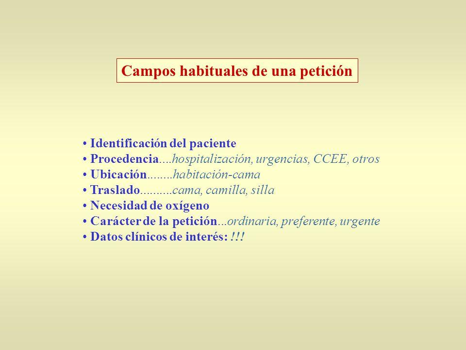 Campos habituales de una petición Identificación del paciente Procedencia....hospitalización, urgencias, CCEE, otros Ubicación........habitación-cama Traslado..........cama, camilla, silla Necesidad de oxígeno Carácter de la petición...ordinaria, preferente, urgente Datos clínicos de interés: !!!